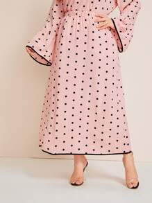 Plus Polka Dot Piping Trim Skirt