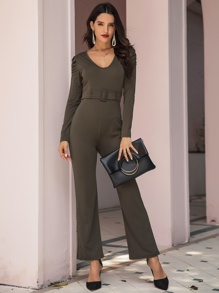 Solid V-neck Puff Sleeve Belted Jumpsuit