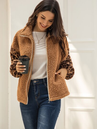 Contrast Leopard Print Zip-up Teddy Coat