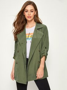 Solid Double-breasted Roll Up Sleeve Trench Coat
