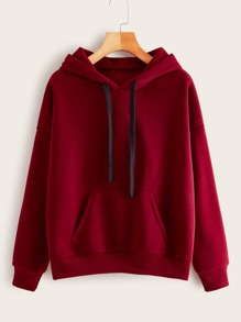 Kangaroo Pocket Drawstring Hooded Sweatshirt