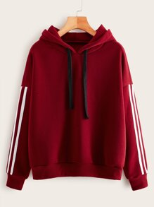 Side Stripe Drawstring Hooded Sweatshirt