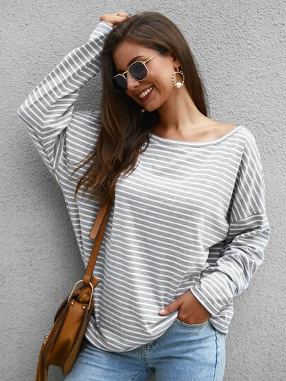 Striped Boat Neck Long Sleeve Tee