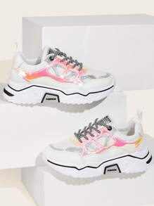 Lace-up Front Holographic Panel Trainers