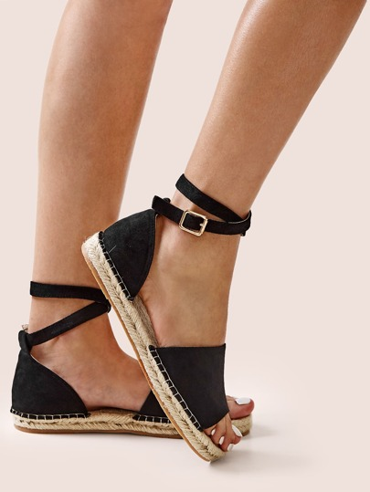 Open Toe Ankle Strap Espadrille Sandals