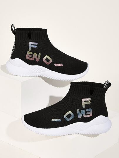 Glitter Letter Decor High Top Trainers
