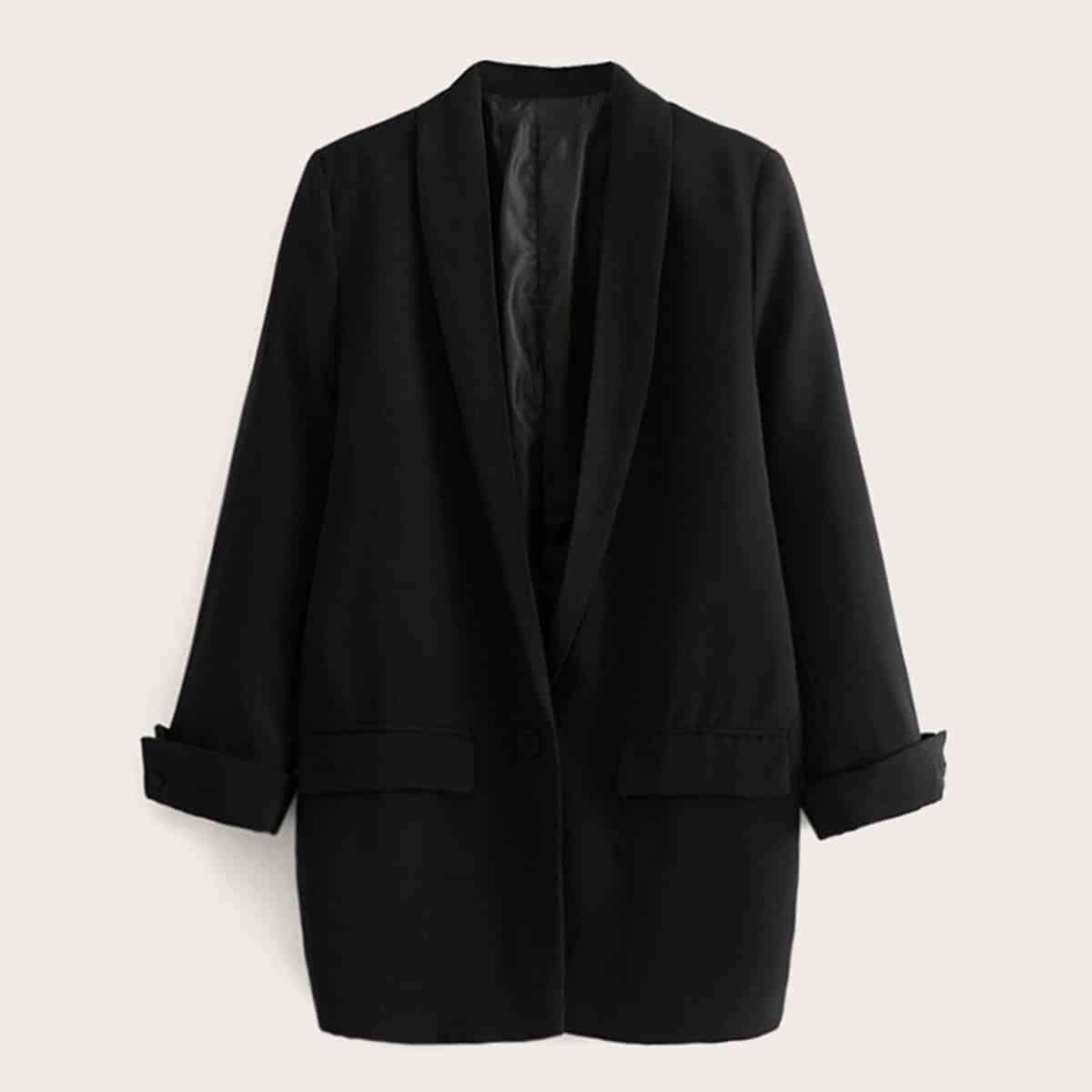 Однотонный пиджак с оригинальным воротником