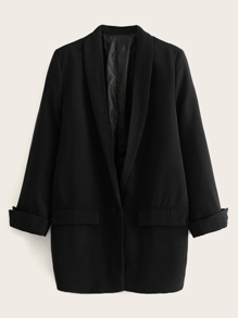 Shawl Collar Rolled Cuff Solid Blazer
