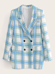 Tartan Plaid Double Breasted Blazer