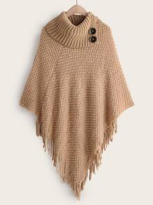 High Neck Fringe Hem Poncho Sweater