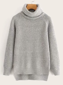 High Neck Cable Knit High Low Jumper