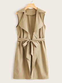 Waterfall Collar Belted Sleeveless Trench Coat