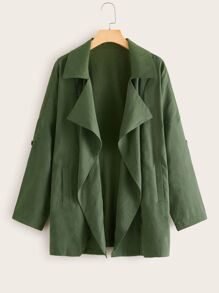 Solid Waterfall Collar Coat