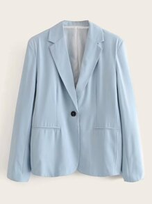Single Button Front Pocket Lapel Neck Blazer