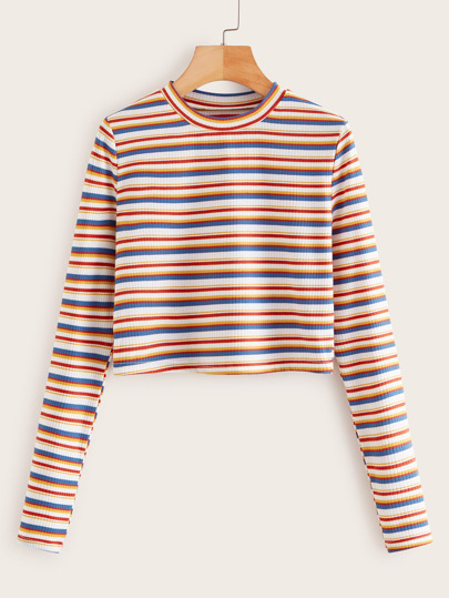 Rainbow Striped Rib-Knit Crop Tee