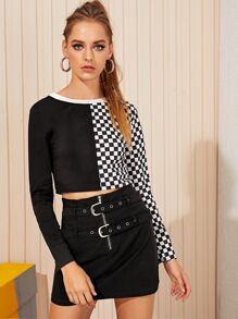 Two Tone Checker Print Crop Tee