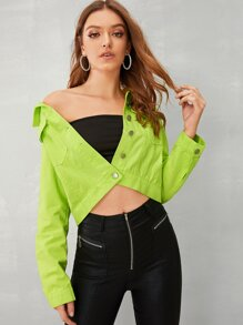 Neon Green Button Through Denim Jacket