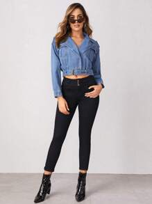 Lapel Neck Belted Denim Jacket