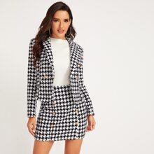 Shawl Collar Houndstooth Print Blazer and Bodycon Skirt Set