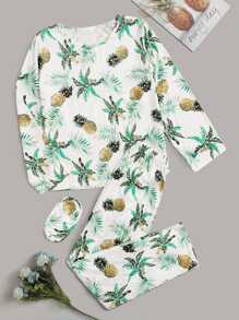 Pineapple Print Pajama Set With Eye Mask