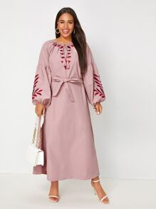 Plus Embroidery Tassel Tie Bishop Sleeve Belted Dress