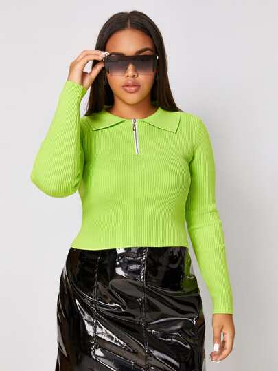 Plus Neon Green Zip Detail Fitted Sweater