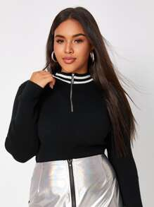 Plus Contrast Striped Half Zip Jumper