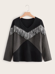Plus Contrast Panel Fringe Detail Sweater