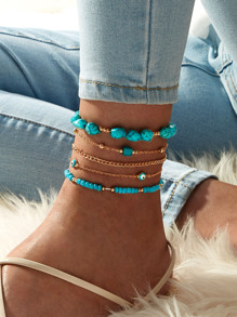 Turquoise Decor Chain Anklet 5pcs