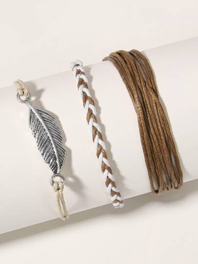 Leaf Decor String Bracelet 3pcs