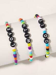 Letter Engraved Beaded Bracelet 3pcs