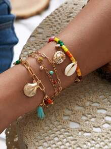 Shell & Tassel Decor Chain Bracelet 3pcs