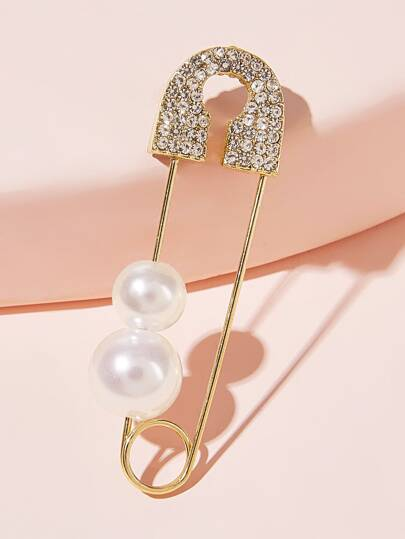 Faux Pearl Decor Safety Pin Design Brooch 1pc
