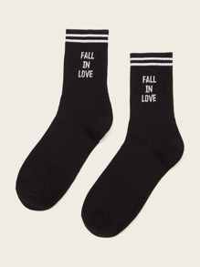 Slogan Pattern Socks 1pair