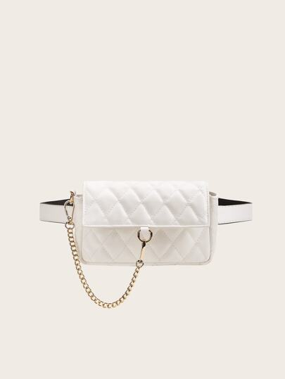 Chain Decor Quilted Fanny Pack