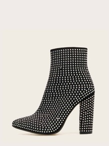 Studded Side Zip Chunky Boots