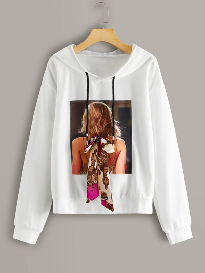 Bow Tie Figure Graphic Drawstring Hoodie