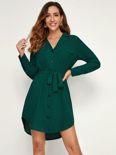 Button Through Belted Curved Hem Lapel Shirt Dress