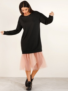 Contrast Mesh Hem sweatshirt Dress