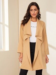 Solid Waterfall Collar Longline Coat