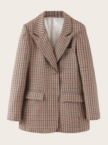 Lapel Neck Flap Pocket Plaid Blazer