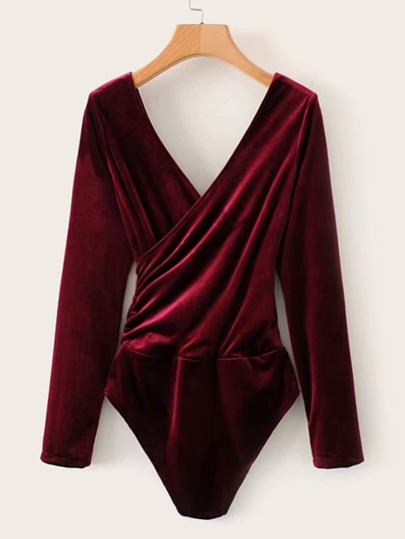 Velvet Surplice Double V-neck Skinny Bodysuit