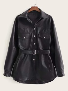 PU Button Front Flap Pocket Belted Jacket