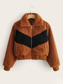 Contrast Panel Zipper Teddy Jacket