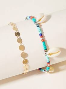 Shell & Disc Decor Anklet 2pcs