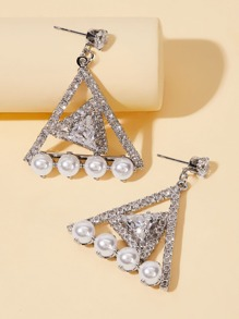 Faux Pearl Decor Rhinestone Engraved Triangle Drop Earrings 1pair