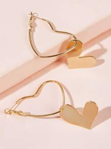 Double Heart Drop Earrings 1pair