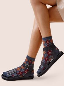 Argyle Pattern Socks 1pair