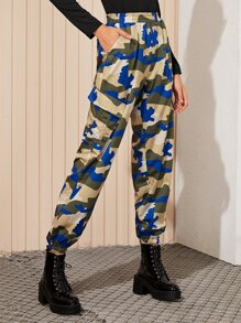 Camo Print Side Flap Pocket Cargo Pants