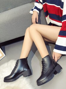 Lace Up Round Toe PU Boots